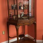 Fine carved Wood & Glass Octagonal Collectible Display Cabinet