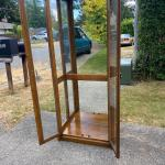 Antique oak and glass display cabinet - Shelves missing.