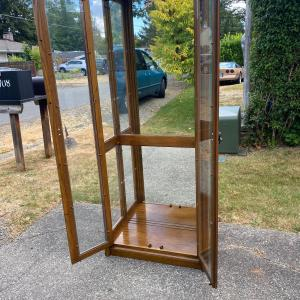 Photo of Antique oak and glass display cabinet - Shelves missing.