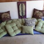 PATIO CUSHIONS, PILLOWS &METAL WALL ART