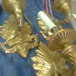 French Leaf Design Wall Sconces 3 of them, Gold Brass.