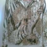 Ladies satin looking blouse with shiny stripes