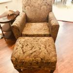 Recliner and chair with ottoman