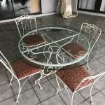 Antique iron patio set