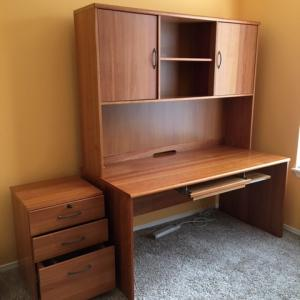 Photo of Dania office desk and hutch with doors.