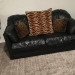 Leather loveseat and couch