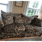 """Used """"New Vintages Bernhardt Sofa"""" and matching over-sized chair w/side table"""