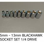 blackhawk sockets 1\4 drive metric