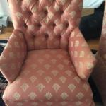 Peach & cream armchair