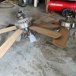 Ceiling fans, chandelier, bakers rack, large X-mas wreath
