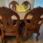 dining table w 4 upholstered chairs 8 feet