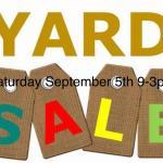 Yard sale Saturday September 5th