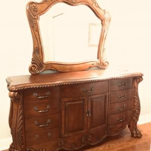 Photo of Beautiful Wood Dresser ans Mirror a real Statement Piece