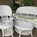 4 pc white wicker furniture