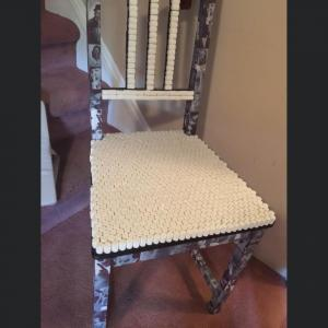 Photo of Decorative armless side wood chair