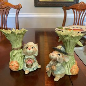 Photo of Thanksgiving Mayflower Fitz and Floyd candle stick holder