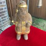 Unique Heavy Hand Carved Wooden Santa ♡
