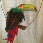 Real toucans bird feathers added
