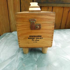 Photo of Vintage Wooden Esquire Shoe Valet Deluxe Shoe Shine Kit with Brushes