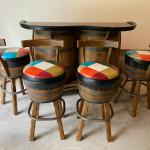 Vintage Whiskey Barrel Bar 4 Swivel Chairs 1960's