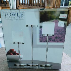 Photo of NEW Towle Silversmith's Set of 3 Contemporary Candle Holders