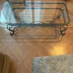 RARE, VINTAGE, 4 PC. WROUGHT IRON AND GLASS TABLE SET