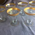Vintage Gold-rimmed wine/water glasses