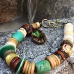 BOHO bracelet, full of prayer beads, turquoise,heishi and a vintage dangle!