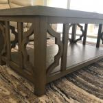Coffee Table with gray cement top and wood frame