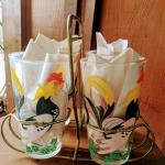 Hazel Atlas Rooster Beverage Glasses (4) with Carrier Vintage