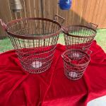 3 Heavy Red Metal Utility Baskets