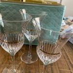 Set of crystal wine glasses
