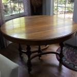 Unique, antique 5 legged round oak table