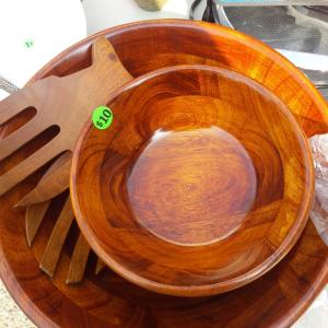 Photo of Wooden salad bowl set