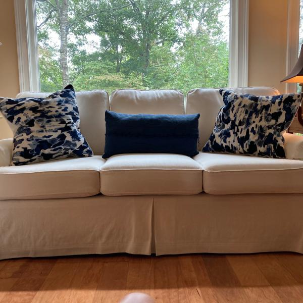 Photo of Slip-covered Sofa & Chair w/Leather Ottoman