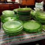 Green Cherry pattern dishware