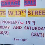 Garage Sale Fri 10/2 and Sat 10/3 9am-4pm