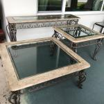 Stone, iron & glass coffee, end & sofa tables
