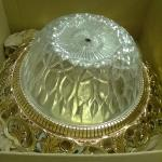 Beautiful Cut Glass Bowl and Gold Rim for Ceiling Fixture.
