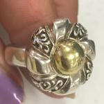 Sterling and 18k gold ring