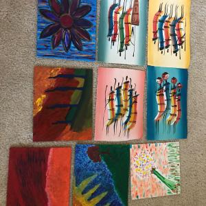 Photo of 9 Oil paintings on canvas