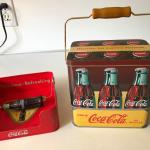 Vintage Coca-Cola Napkin Holder and Tin Can