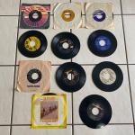 Vintage items, Records, Fisher Stereo Reciever, Dishes, Hockey Stick