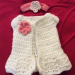 **New Handmade Crocheted Doll Sweater and Headband**