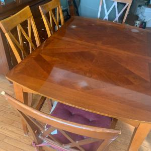 Photo of Solid wood dinner table with 6 chairs
