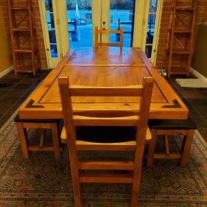 Photo of solid wood dining table