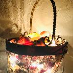 Lighted basket of shells
