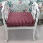 Vintage Painted Wood Lyre Bench