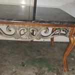 Vintage italian marble top table queen ann wood legs great condition $50 firm