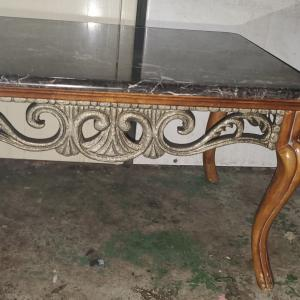 Photo of Vintage italian marble top table queen ann wood legs great condition $50 firm